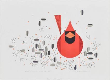 """Harper, Charles """"Cardinal Close Up"""" 1998 Serigraph"""