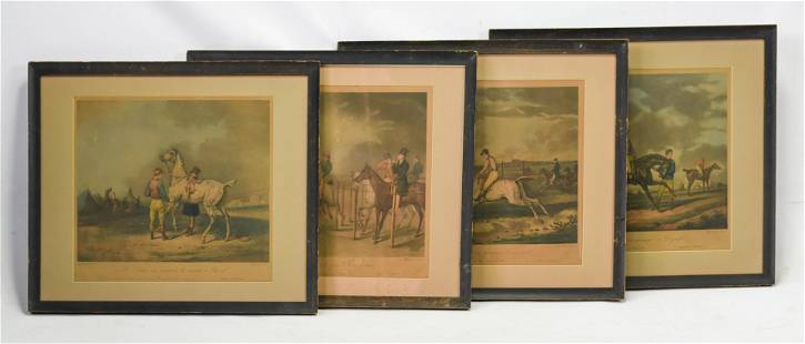 Jazet, Marie, Four Framed Antique Horse Prints