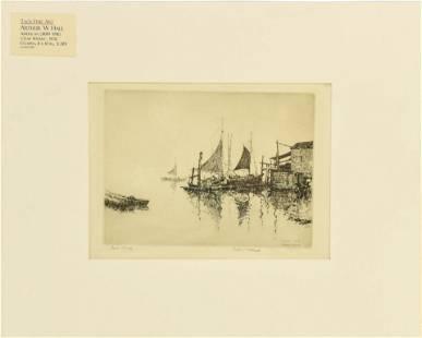 "Hall, Arthur W. ""Crab Wharf"" 1932 Drypoint Etching"