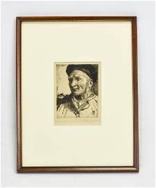 """Hankey, William Lee """"Pre Dachicourt"""" Etching 1920"""