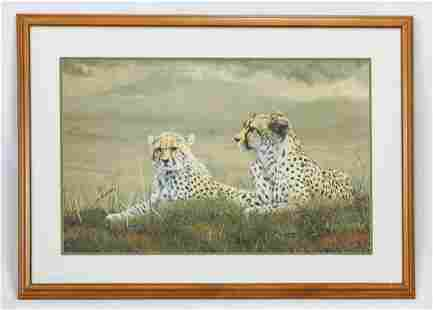 """Frace, Charles """"A Moments Rest"""" Cheetahs Lithograph"""