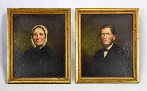 Unsigned, 19thC Ancestor Portrait Pair Paintings