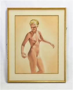 20thC Pastel Portrait Nude Girl
