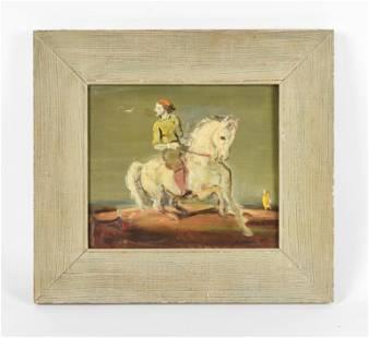 """Csoka, Stephen (Istvan) """"The Rider"""" Oil Panel 1930s"""