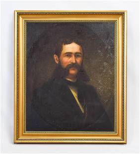 "19thC Ancestor Portrait ""Man w/Burnsides"" Oil Canvas"