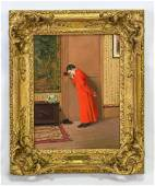 "Vibert, Jean Georges ""Boy in Red Cloak"" Oil Wood Panel"