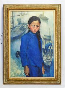 """Ming, Wai """"Young Girl in Blue"""" Oil Canvas/Panel 1972"""