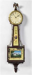 Waltham Reverse Painted Mt. Vernon Banjo Clock