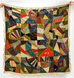 Antique American Crazy Quilt Dated 1895-6