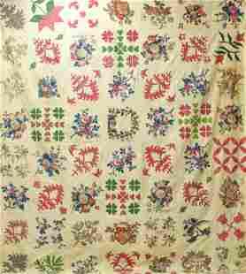 Antique American Album Quilt Dated 1846