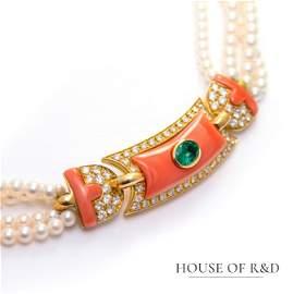 18k Y&W Gold - 5.21tcw -  Emerald & Diamonds Necklace