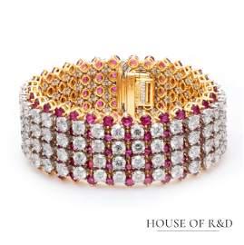 Platinum 950&18k- 67.00tcw - Ruby & Diamonds Bracelet