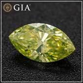 0.52ct - Fancy Intense Greenish Yellow/SI2 - Marquise
