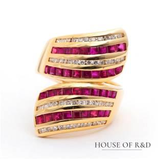18k Yellow Gold - 3.18tcw - Ruby & Diamonds Ring