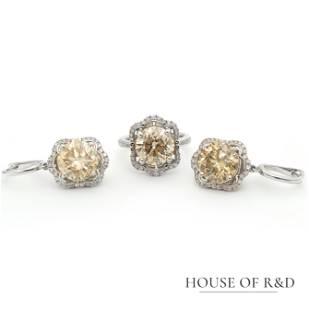 18k White Gold - 16.22tcw - Diamonds Ring&Earrings Set