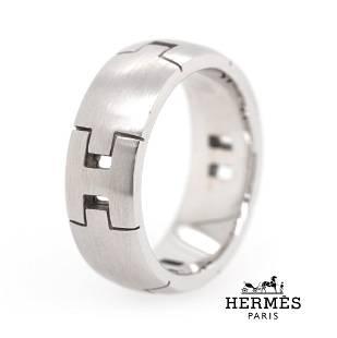 Hermes - Paris - 18k White Gold - 'H' Logo Ring