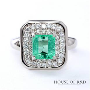 Platinum 850 - 2.94tcw - Emerald & Diamonds Ring