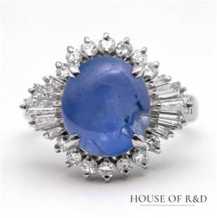 Platinum 900 - 7.46tcw - Sapphire & Diamonds Ring