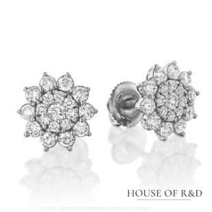 14k White Gold - 0.98tcw - Diamonds Earrings