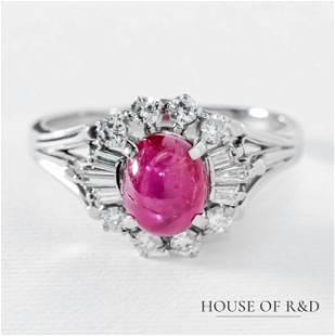 Platinum 850- 2.70tcw - Ruby & Diamonds Ring