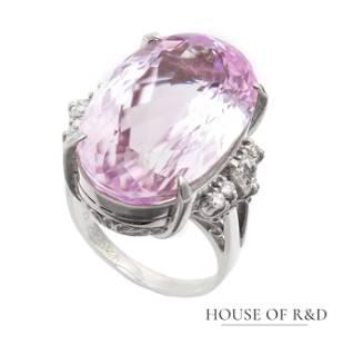Platinum 900 - 22.62tcw - Spodumene & Diamonds Ring