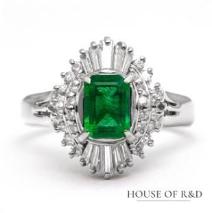 Platinum 900 - 1.43tcw - Rock Crystal & Diamonds Ring