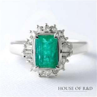 Platinum 900 - 1.63tcw - Emerald & Diamonds Ring