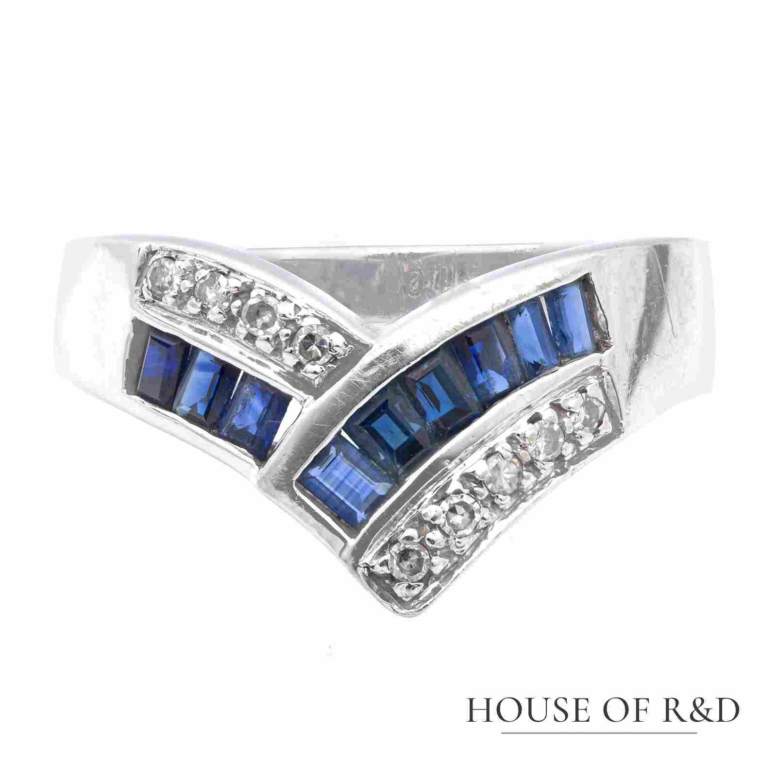 14k White Gold  - 0.85tcw -  Sapphire & Diamonds Ring