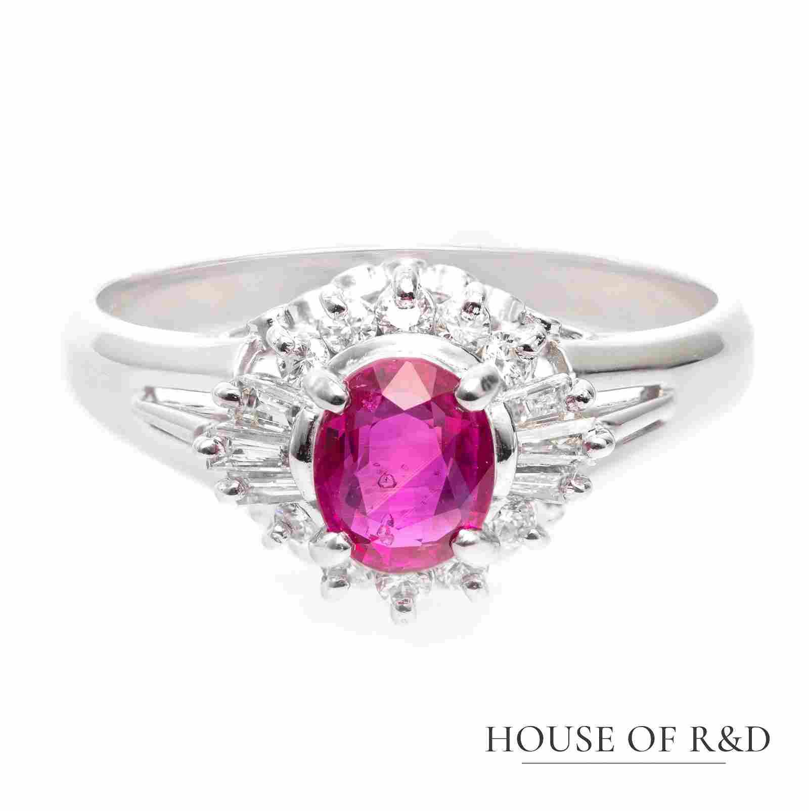 Platinum 900 - 0.98tcw -  Ruby & Diamonds Ring