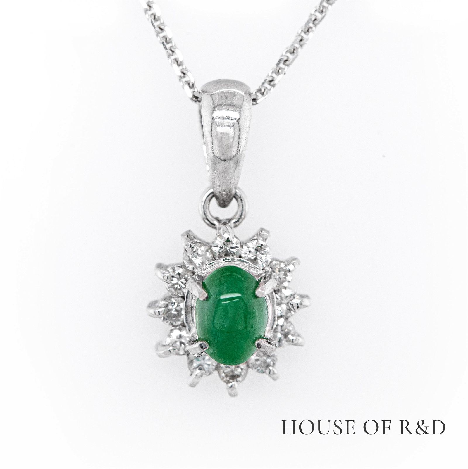 14k White Gold - 0.36tcw -  Jade & Diamonds Pendant