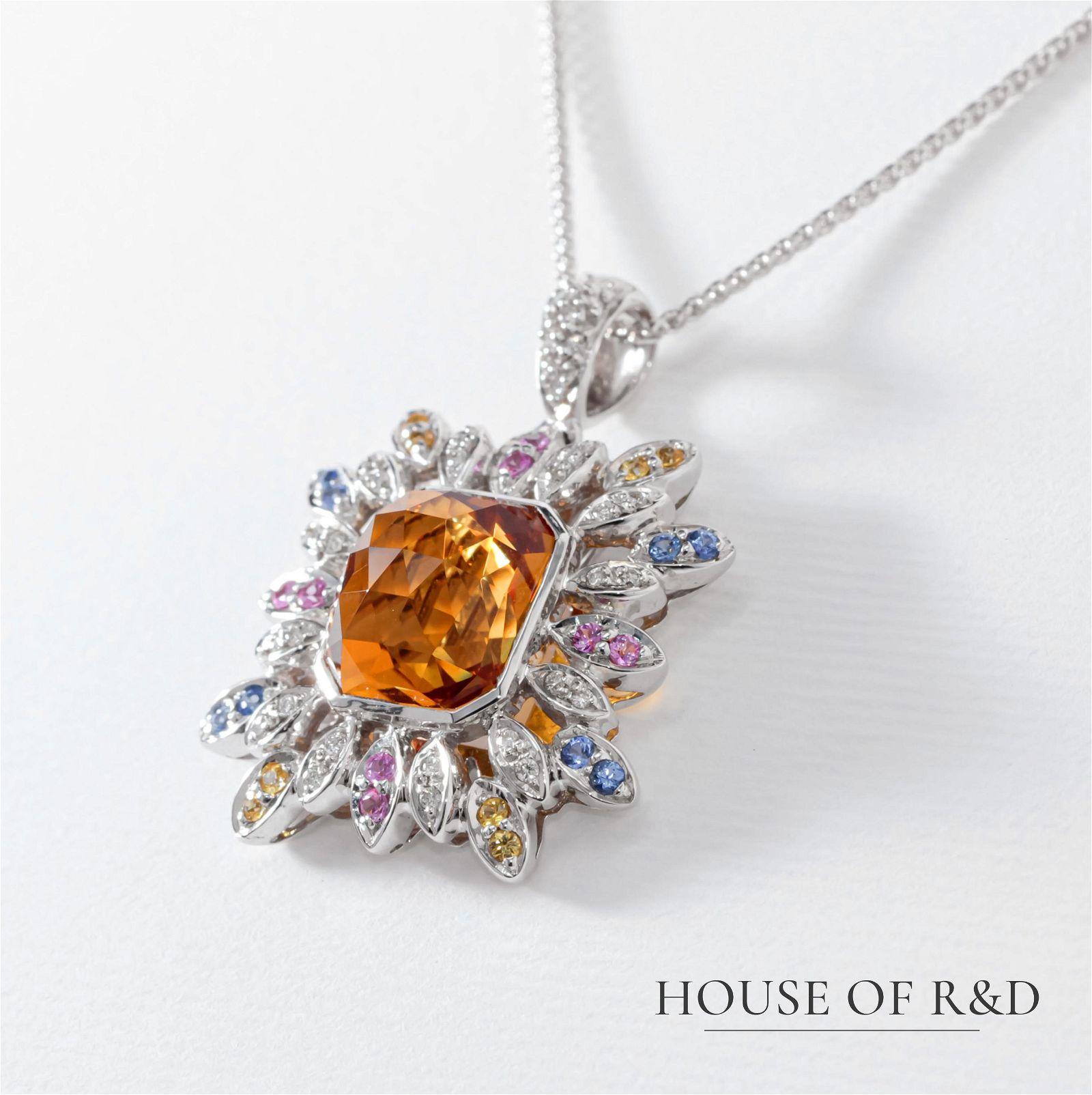 18k White Gold - 5.20tcw - Gemstone & Diamonds Necklace