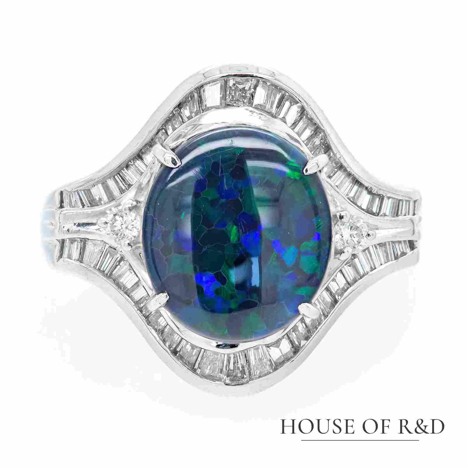 Platinum 900 - 3.27tcw -  Black Opal & Diamonds Ring