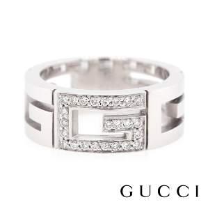 GUCCI - 18k White - 'G' Logo set with Diamonds Ring