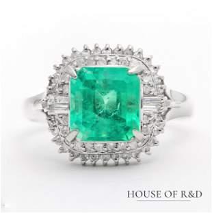 Platinum 900 - 2.55tcw - Emerald & Diamonds Ring