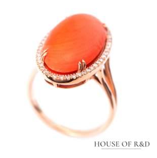 14k Rose Gold - 9.78tcw - Orange Coral & Diamonds Ring