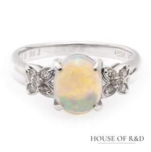 Platinum 900 - 1.09tcw -  Water Opal & Diamonds Ring