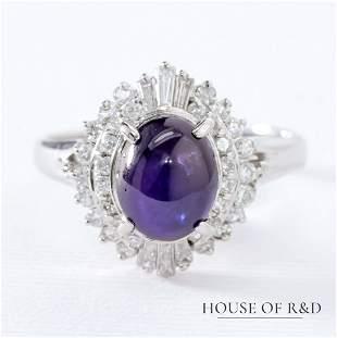Platinum 900 - 4.39tcw -  Sapphire & Diamonds Ring