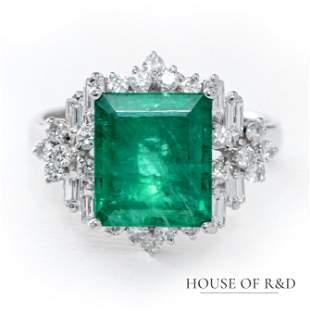 Platinum 850 - 3.70tcw - Emerald & Diamonds Ring