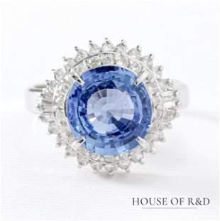 Platinum 900 - 4.07tcw - Sapphire  & Diamonds Ring