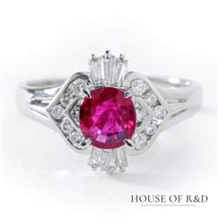 Platinum 900 - 1.12tcw - Ruby & Diamonds Ring