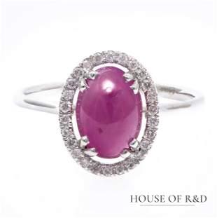 14k White Gold - 2.26tcw - Ruby & Diamonds Pendant