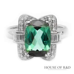 Platinum 900 - 4.29tcw - Green Tourmaline & Diamonds