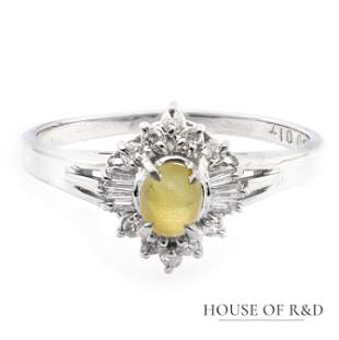 Platinum 900 - 0.55tcw -  Cat Eye & Diamonds Ring