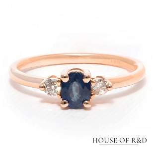 14k Rose Gold - 0.56tcw - Sapphire & Diamonds Ring