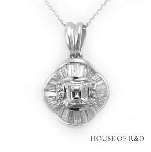 PT 900&14k White Gold - 0.91tcw - Diamonds Pendant