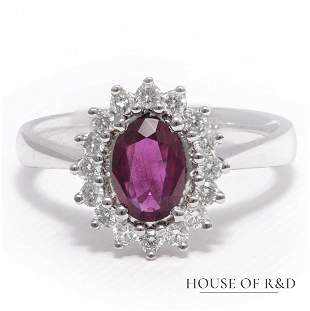 14k White Gold - 0.64tcw - Ruby & Diamonds Ring
