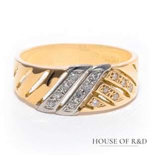 Platinum 900 & 18k Y Gold - 0.12tcw - Diamonds Ring