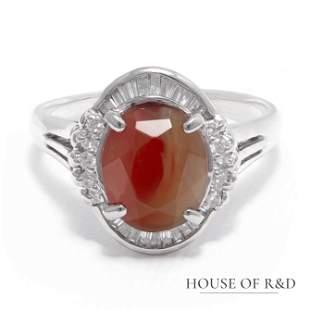 Platinum 900 - 3.05tcw - Man-made Glass & Diamonds Ring
