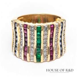 18k Yellow Gold - 2.30tcw -  Gemstones & Diamonds Ring
