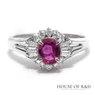 Platinum 900 - 0.67tcw -  Ruby & Diamonds Ring